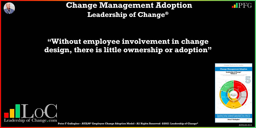 Change Management Adoption Quotes, Change Management Quotes, Peter F Gallagher, Without employee involvement in change design, there is little ownership or adoption, Peter F Gallagher Change Management Experts, Peter F Gallagher Change Management Speakers, Peter F Gallagher Change Management Global Thought Leaders, change management Adoption book, Leadership of Change, Employee Adoption Change,