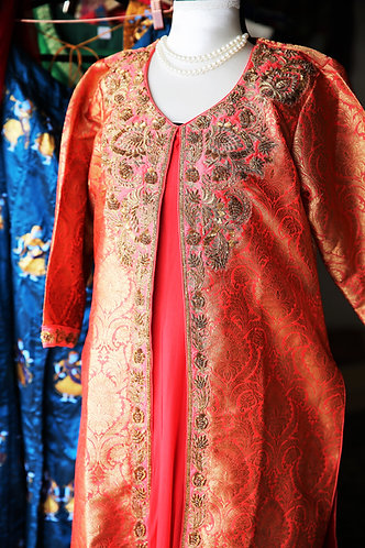 Designer Coral Peach banarasi brocade top with jardozi works