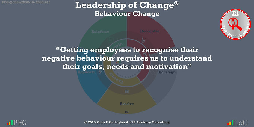 "Change Management Behaviour Quotes, Change Management Quotes Peter F Gallagher, ""Getting employees to recognise their negative behaviour requires us to understand their goals, needs and motivation""~ Peter F Gallagher Change, Peter F Gallagher Change Management Expert Speaker and Global Thought Leader,"
