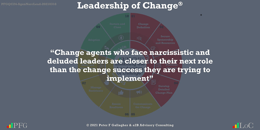 change management quote, change management quotes, change management quote peter f gallagher, change agents who face narcissistic and deluded leaders are closer to their next role than the change success they are trying to implement, Change Management Quote of the day, Peter F Gallagher Change Management Expert Speaker Global Thought Leader, leadership of change, Change Management Leadership, Change Management book,