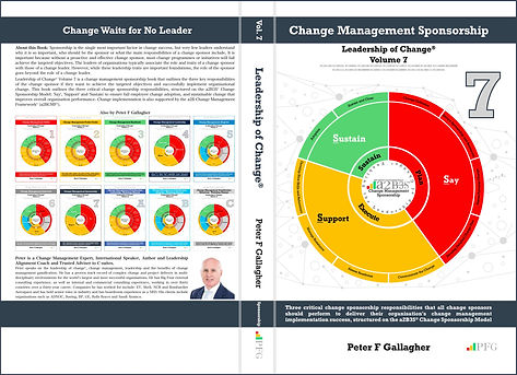 Change Management Sponsorship - Leadership of Change® Volume 7, Change Management Book, Peter F Gallagher Change Management Expert, Three critical sponsorship responsibilities that all sponsors should perform to deliver their organisation's change management implementation success, structured on the a2B Change Management Framework®, Change Management Sponsorship: Without a proactive and effective change sponsor, most change programmes or initiatives will fail to achieve the targeted objectives. This book outlines the three critical sponsorship responsibilities to successfully implement change; 'Say' - communicating the change, 'Support' - providing resources and 'Sustain' - embedding the change