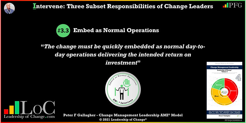 Change Management Leadership Quotes, Change Management Quotes Peter F Gallagher, Embed as Normal Operations, The change must be quickly embedded as normal day-to-day operations delivering the intended return on investment, change management experts speakers authors global thought leaders, leadership of change, change management quotes, change leadership, Change Management Leadership Handbook,