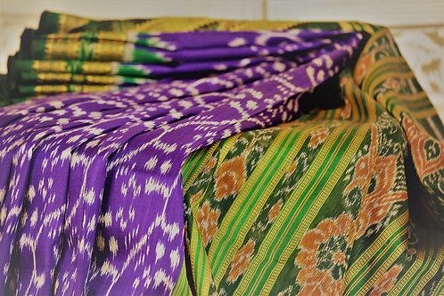 Odisha khandua silk blueish purple with green border