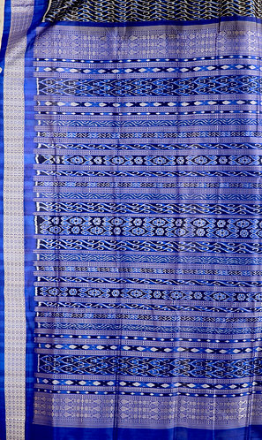 Royal Blue and Black Baandha Prtly designed with traditional Border