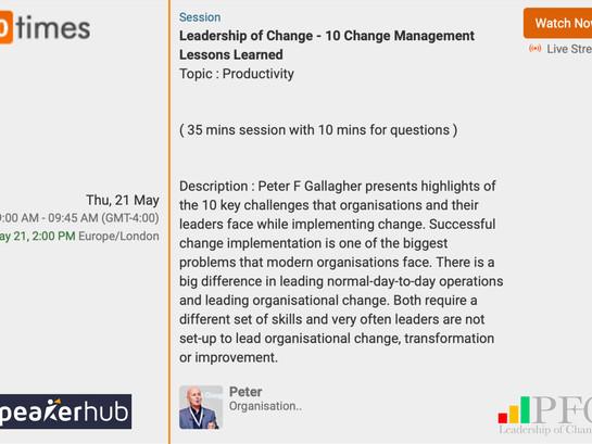 SpeakerHub Webinar: Leadership of Change - 10 Change Management Lessons Learned