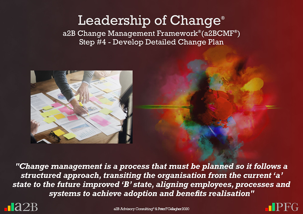 "a2B Change Management Framework® (a2BCMF®) Step #4 – Develop Detailed Change Plan ""Change project planning should ensure the change management process follows a structured approach with key activities and milestones, transitioning the organisation from the current state 'a' to the future state 'B', ensuring adoption and benefits realisation"" Peter F Gallagher Change Management Expert"