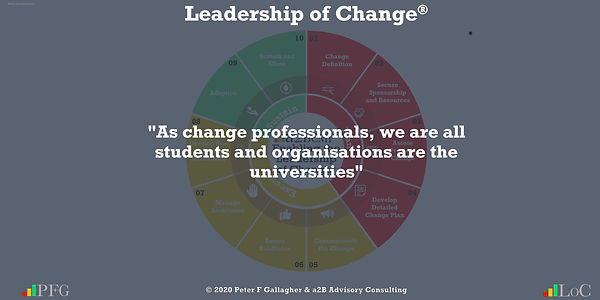 Change Management Quotes, Change Management Quotes Peter F Gallagher, As change professionals, we are all students and organisations are the universities ~ Peter F Gallagher Change, Peter F Gallagher Change Management Expert Speaker and Global Thought Leader,
