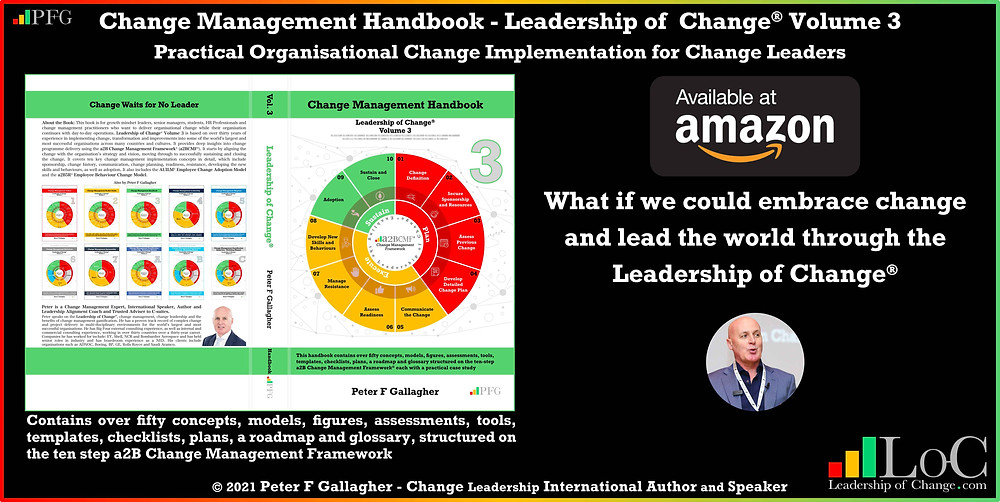 change management handbook, Peter F Gallagher, change management book, change management handbook leadership of change volume 3, Peter F Gallagher change management expert speaker global thought leader, change management experts speakers global thought leaders, Practical Organisational Change Implementation for Change Leaders, enable the Leadership of Change, change management leadership, change management glossary,