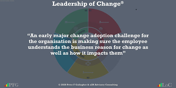 """Change Management Quotes, Change Management Quotes Peter F Gallagher, """"An early major change adoption challenge for the organisation is making sure the employee understands the business reason for change as well as how it impacts them"""" ~ Peter F Gallagher Change, Peter F Gallagher Change Management Expert Speaker and Global Thought Leader,"""