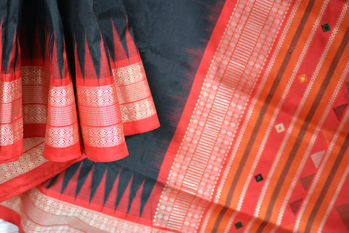 Dongria tribal design Sambalpuri silk Black with red borer and anchal