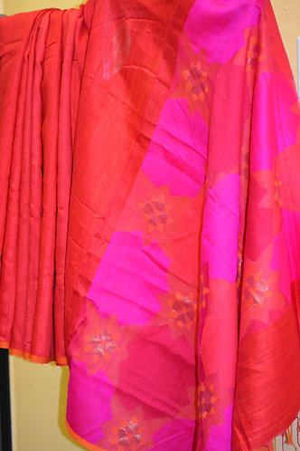 Byloom silk Red and hot pink