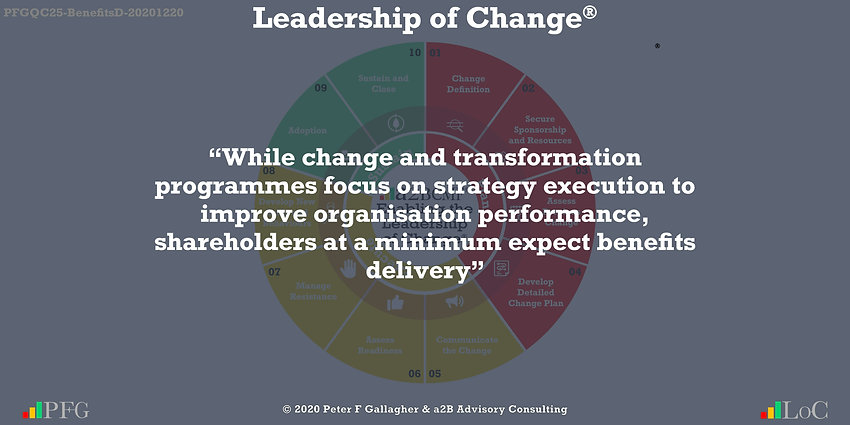 Change Management Quote, Change Management Quotes Peter F Gallagher, while change and transformation programmes focus on strategy execution to improve organisation performance, shareholders at a minimum expect benefits delivery ~ Peter F Gallagher Change, Peter F Gallagher Change Management Expert Speaker and Global Thought Leader, change management handbook, change manager book, Change Management Benefits Quotes,