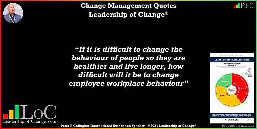 Change Management Quote, Change Management Quotes Peter F Gallagher, If it is difficult to change the behaviour of people so they are healthier and live longer, how difficult will it be to change employee workplace behaviour, Change Management Quote of the day, Peter F Gallagher Change Management Expert Speaker Global Thought Leader, leadership of change, Change Management Leadership, Change Management Handbook,
