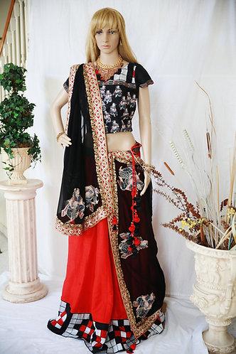 Designer Red Ghagra with Black dupatta and kundan border