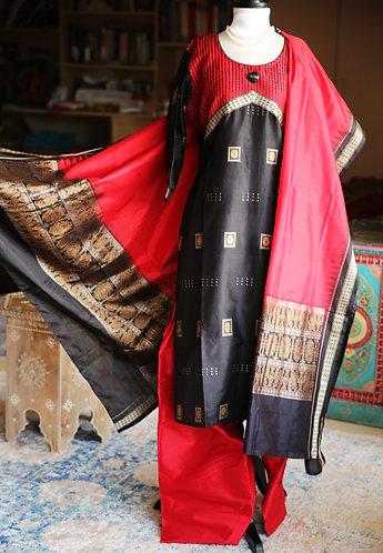 Red and Black Sambalpuri Bomkai deigner dress set