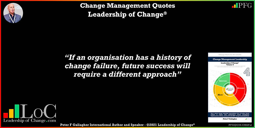 Change Management Quotes, Change Management Quote Peter F Gallagher, if an organisation has a history of change failure, future success will require a different approach, Peter F Gallagher Change Management Experts Speakers Global Thought Leaders, change manager handbook, change management handbook, leadership of change, change management pocket guide,