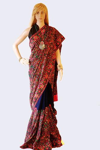 Kashmiri designer saree with ready made Blouse