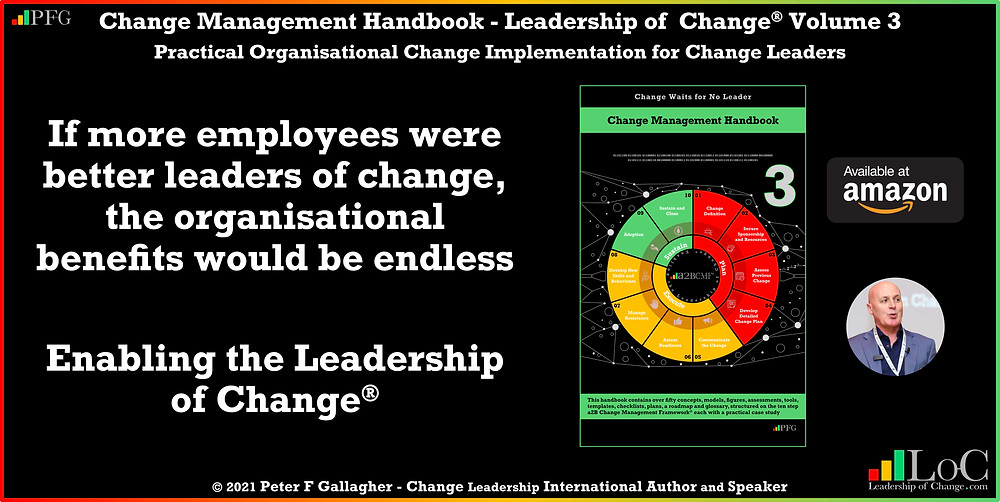 change management handbook, Peter F Gallagher, change management book, change management handbook leadership of change volume 3, Peter F Gallagher change management expert speaker global thought leader, change management experts speakers global thought leaders, If more employees were better leaders of change, the organisational benefits would be endless, We enable the Leadership of Change, change management leadership, leadership of change, change management glossary,