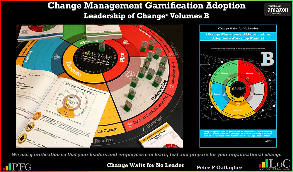 change management gamification adoption, change management gamification Peter F Gallagher Achieve employee change adoption through: Awareness, Understanding, Involvement, Learning and Motivation (AUILM), Peter F Gallagher change management expert speaker global thought leader, change management experts speakers global thought leaders, change manager handbook, change management adoption, change management leadership,