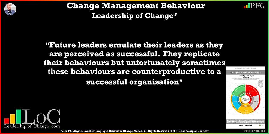 Change Management Behaviour Quotes, Change Management Quotes, Peter F Gallagher, Future leaders emulate their leaders as they are perceived as successful, Peter F Gallagher Change Management Experts, Peter F Gallagher Change Management Speakers, Peter F Gallagher Change Management Global Thought Leaders, change management behaviour book, Leadership of Change,