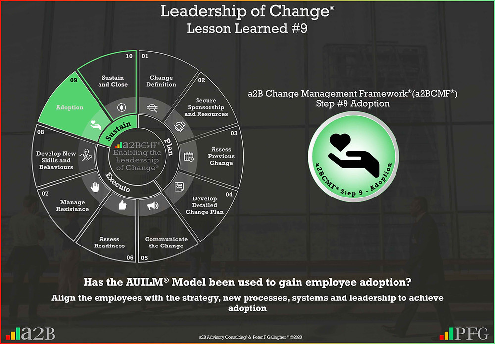Lesson Learned #9 Leadership of Change, a2B Change Management Framework, Change Management Lesson Learned #9, Has the AUILM Model been used to gain employee adoption? Align the employees with the strategy new processes systems & leadership to achieve adoption, Peter F Gallagher change management expert speaker global thought leader, change management handbook, change manager handbook, change management pocket guide,