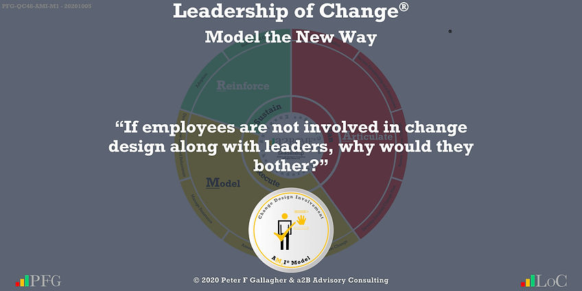 """Change Management Leadership Quotes, Change Management Quotes Peter F Gallagher, """"If employees are not involved in change design along with leaders, why would they bother?"""" ~ Peter F Gallagher Change, Peter F Gallagher Change Management Expert Speaker and Global Thought Leader,"""