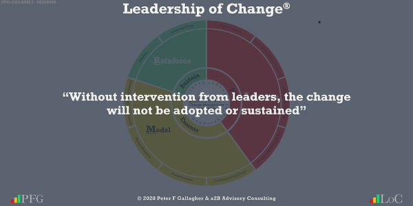"""Change Management Quotes, Change Management Quotes Peter F Gallagher, """"Without intervention from leaders, the change will not be adopted or sustained"""" ~ Peter F Gallagher Change, Peter F Gallagher Change Management Expert Speaker and Global Thought Leader,"""