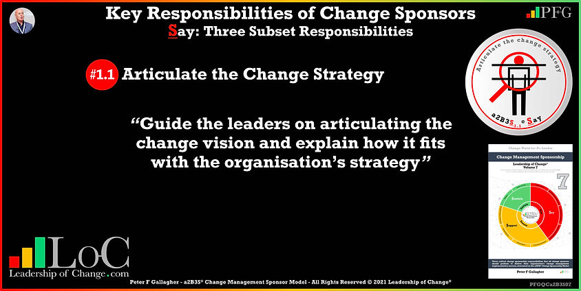 Change Management Sponsorship, Sponsor Articulate the Change Strategy, Guide the leaders on articulating the change vision and explain how it fits with the organisation's strategy, Peter F Gallagher Change Management Experts Speakers Global Thought Leaders, Peter F Gallagher Change Management Expert Speaker Global Thought Leader, change sponsorship, leadership of change,