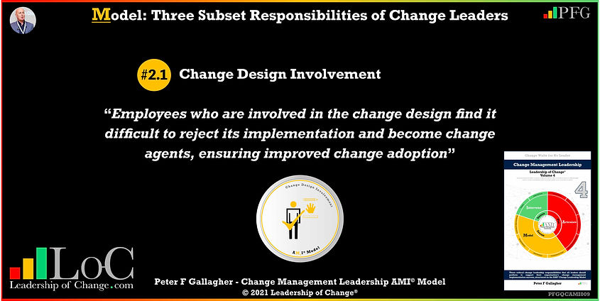 Change Management Leadership Quotes, Change Management Quotes Peter F Gallagher, Change Design Involvement, Employees who are involved in the change design find it difficult to reject its implementation and become change agents, ensuring improved change adoption, Peter F Gallagher Change Management Expert Speaker and Global Thought Leader, change management experts speakers authors global thought leaders,