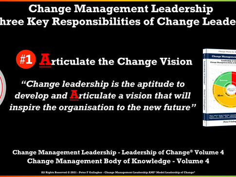 Change Management Leadership - Responsibility One of Three: Articulate the Change Vision
