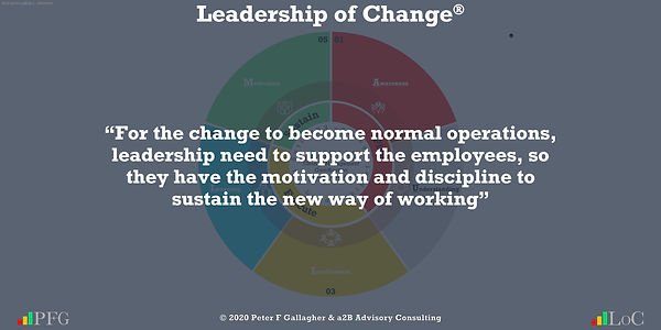 """Change Management Quotes, Change Management Quotes Peter F Gallagher, """"For the change to become normal operations, leadership need to support the employees, so they have the motivation and discipline to sustain the new way of working"""" ~ Peter F Gallagher Change, Peter F Gallagher Change Management Expert Speaker and Global Thought Leader,"""