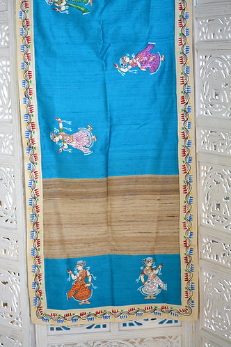 Raw silk and Tussar border designer Pattachitra Dupatta