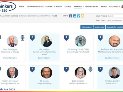 #1 Global Thought Leaders and Influencers on Change Management (12th Jan 2021)