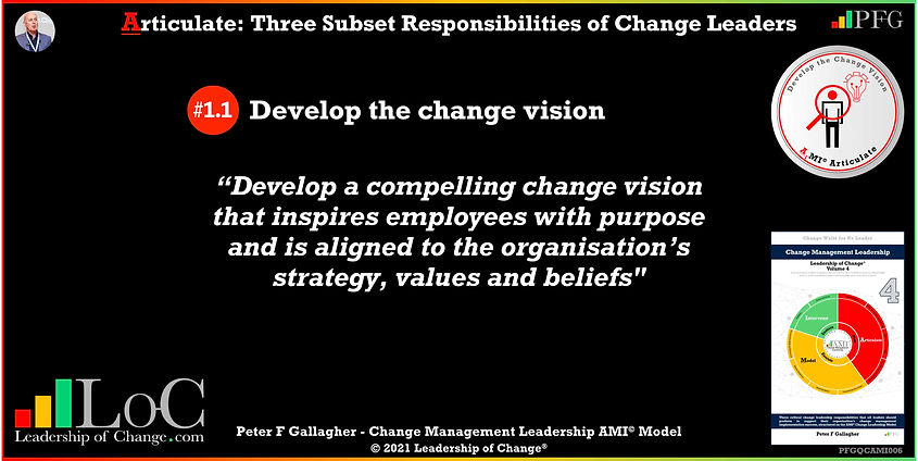 Change Management Leadership Quotes, Change Management Quotes Peter F Gallagher, Develop the Change Vision, Develop a compelling change vision that inspires employees with purpose and is aligned to the organisation's strategy, values and beliefs, Peter F Gallagher Change Management Expert Speaker and Global Thought Leader, change management experts speakers authors global thought leaders,