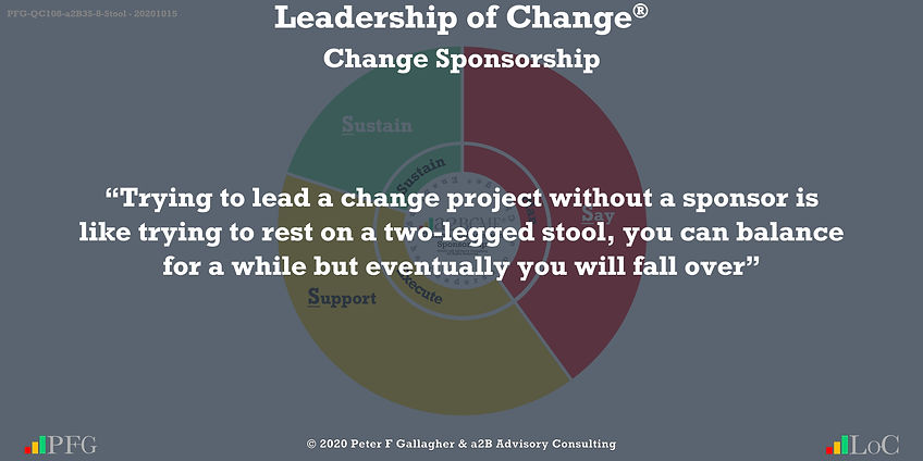 """Trying to lead a change project without a sponsor is like trying to rest on a two-legged stool, you can balance for a while but eventually you will fall over ~ Peter F Gallagher Change, Peter F Gallagher Change Management Expert Speaker and Global Thought Leader,"