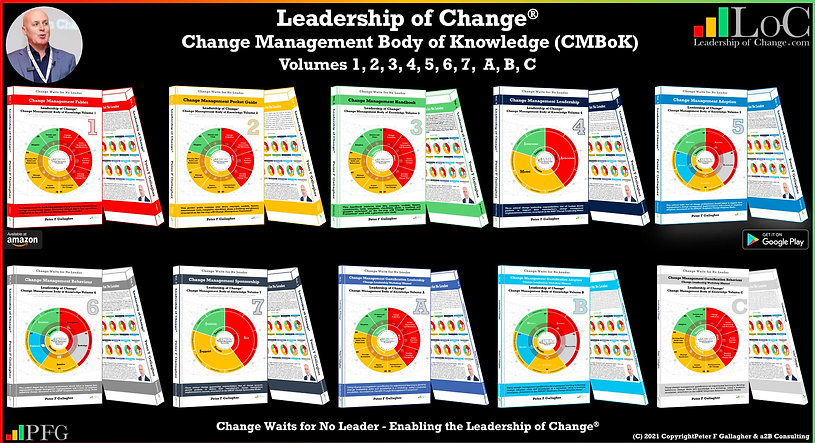 Change Management Body of Knowledge, Leadership of Change® Body of Knowledge (CMBoK), Peter F Gallagher, Change Management Books, Leadership of Change Volumes 1 2 3 A B C 4 5 6 7, Change Management Fables, Change Management Pocket Guide, Change Management Handbook, Change Management Gamification, Change Management Adoption, Change Management Behaviour, Change Management Leadership, Change Management Sponsorship,