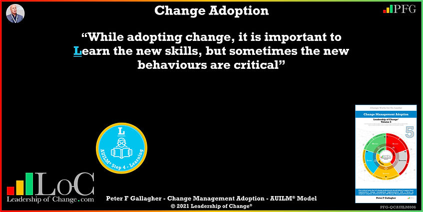 Change Management Adoption Quotes, Change Management Quotes, Peter F Gallagher, for change adoption to be successful support the employees through the change transition by providing Awareness Understanding Involvement Learning Motivation, Change Management Experts, Change Management Speakers, Change Management Global Thought Leaders, change management book,  Change Management Adoption book,