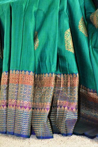 Emerald Green and blue dupion benarasi silk