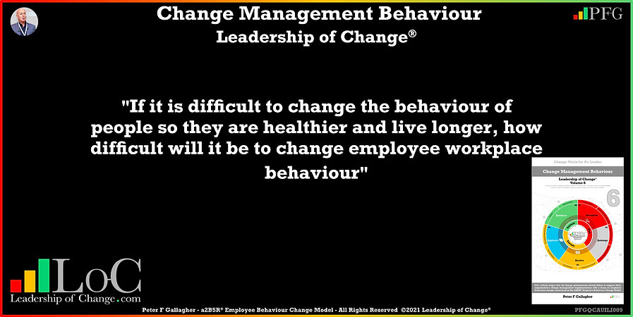 change the behaviour of people so they are healthier and live longer, Peter F Gallagher, Change Management Experts, Peter F Gallagher Change Management Speakers, Peter F Gallagher Change Management Global Thought Leaders, change management behaviour book, Leadership of Change, Employee Behaviour Change,