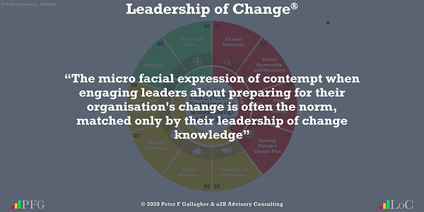 "Change Management Quotes, Change Management Quotes Peter F Gallagher, ""The micro facial expression of contempt when engaging leaders about preparing for their organisation's change is often the norm, matched only by their leadership of change knowledge"" ~ Peter F Gallagher Change, Peter F Gallagher Change Management Expert Speaker and Global Thought Leader,"