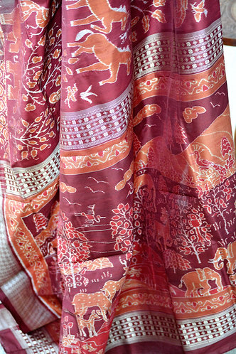 Rust maroon master weaver Jungle pattern Baandha with animal and tree motifs