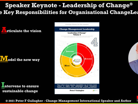 New Leadership of Change Speaker Keynote: Three Key Change Leadership Responsibilities