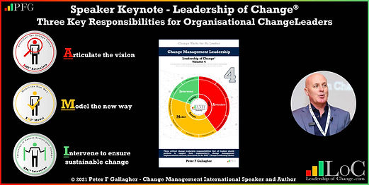 Peter F Gallagher speaking, Peter F Gallagher change leadership keynote speaker, change management keynote speaker, Three Key Responsibilities for Organisational Leaders when implementing organisational change, Peter F Gallagher change management expert speaker global thought leader, change management experts speakers global thought leaders, change handbook, change management handbook, Leadership of Change,