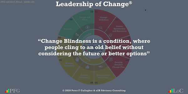 "Change Management Quotes, Change Management Quotes Peter F Gallagher, ""Change Blindness is a condition, where people cling to an old belief without considering the future or better options"" ~ Peter F Gallagher Change, Peter F Gallagher Change Management Expert Speaker and Global Thought Leader,"