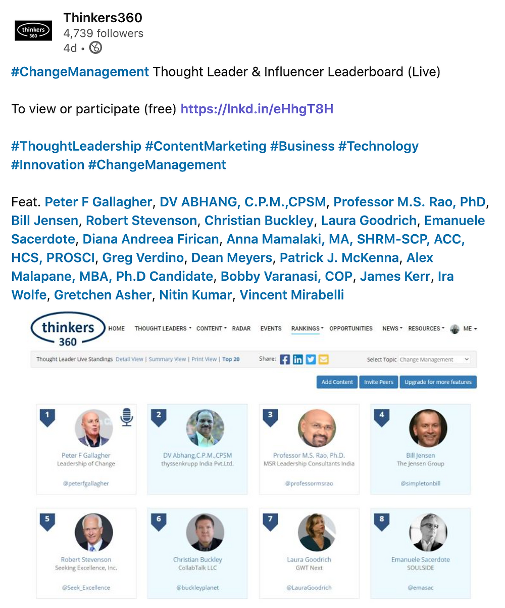 Peter F Gallagher Change Management Expert, Peter F Gallagher Key Note Speaker, Change Management Gamification Facilitator, Leadership of Change, #LeadershipOfChange,Top 50 Global Thought Leaders and Influencers on Change Management Thinkers360