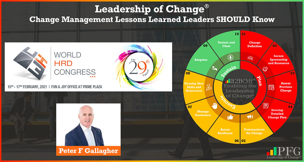 Peter F Gallagher speaking at the World HRD Congress Conference Mumbai India Feb 2021, Change Management Lessons Learned Leaders SHOULD Know, Peter F Gallagher Change Management Expert Speaker and Global Thought Leader,