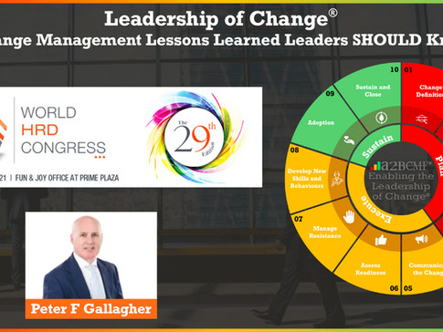 World HRD Congress Conference: Feb 2021 - Peter F Gallagher Speaking on Change Management