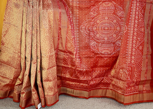 Copper gold Bandha silk Tissue all over with Maroon border