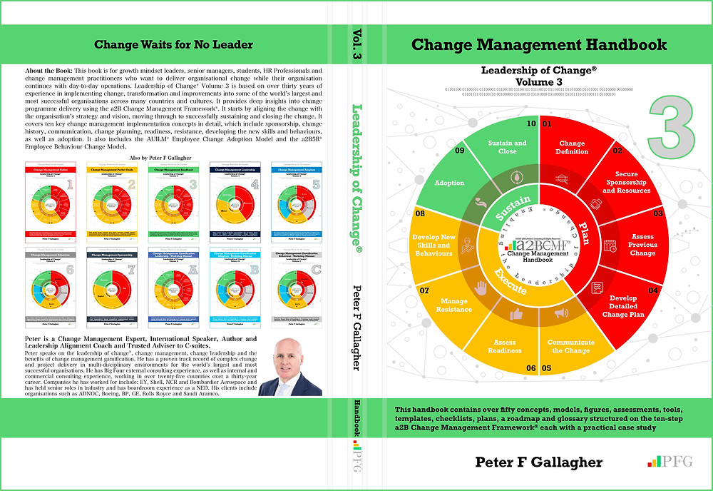 Change Management Handbook, Change Management Book, Change Management Handbook - Leadership of Change® Volume 3, Peter F Gallagher Change Management Expert, This handbook contains over fifty concepts, models, figures, assessments, tools, templates, checklists, plans, a roadmap and glossary, structured on the ten step a2B Change Management Framework® each with a practical case study