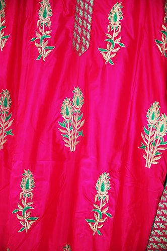 Silk Rani pink with jordozi embroidery and pure Banarasi Brocade Pant